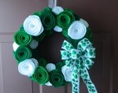 St. Patrick's Day and Christmas Felt Flower Wreath - Two Bows - DOUBLE HOLIDAY
