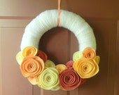 Summer Wreath - White Yarn Wrapped Felt Flower Wreath with Peach and Rose Colored Flowers and Pearls