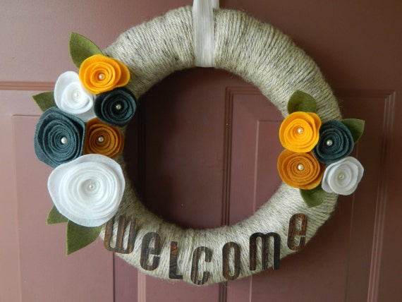 Spring Wreath - Welcome Sign - Summer Wreath -  Yarn Wrapped Wreath with Felt Flowers, Pearls and Leaves