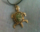 Tortoise Vintage Jewelry.  Bronze with Jade gemstones Sea Turtle Pendant with movable legs.