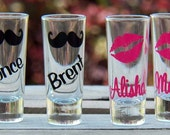 6 Personalized Mustache and Lips Wedding Shot Glasses- Fun Bridesmaid/Groomsmen Gifts
