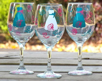 Personalized Bride and Bridesmaid Wine Glass Set -- Great Bridesmaid Gifts