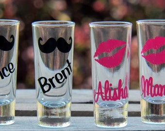 3 Personalized Mustache and Lips Wedding Shot Glasses- Fun Bridesmaid/Groomsmen Gifts