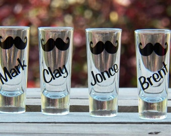4 Personalized Mustache Wedding Shot Glasses- Fun Groomsmen/Bachelor Party Gifts