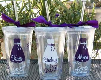 Bridesmaid Gifts, Personalized Bride, Bridesmaid, Junior Bridesmaid, Flower Girl or Maid of Honor Acrylic Tumblers, Great Bridesmaid Gifts
