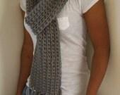 Scarf with fringe - Greybeard -  hand crocheted