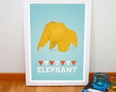 Eames poster, Retro plywood elephant print, Iconic animal design retro poster, Nursery art, Mid century modern art print, 20cm x 30cm