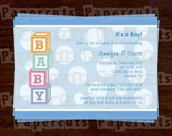 Printable DIY Baby Blocks Theme Polka Dot Boy Blue Personalized Baby Shower Invitations Digital File
