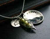 Personalized Pea Pod Necklace, Three, Green, Love, Names, Kids, Peas in a Pod, Children, Kids Names, Daughters, Sons
