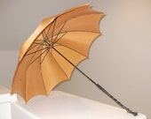 Vintage Large Golden Umbrella with Wooden Handle Brass Hoop & Black Tassel