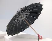 Vintage Black Umbrella with Bold Red Bakelite Art Deco Handle