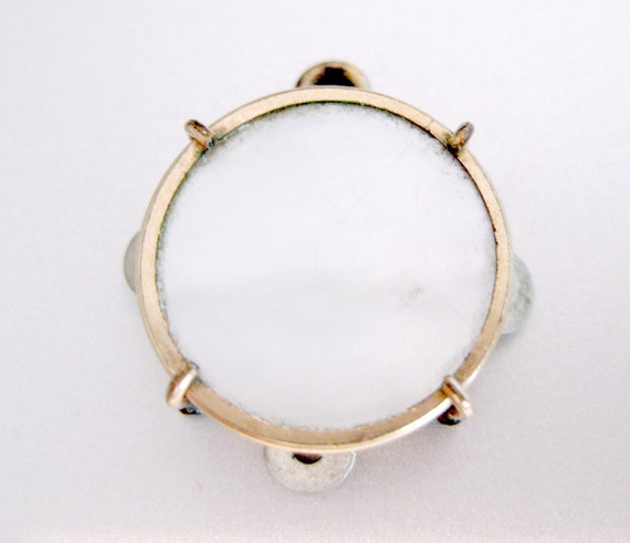Mini Vinage Tambourine Charm.. I can just hear the Music.. Vintage Pendant of Copper and Mother of Pearl