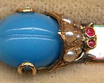 12K Gold Filled Bar Pin with Faux Turquoise Bug  ITEM NO: 14641
