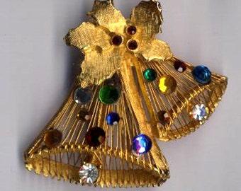 ON SALE Unusual Brooch  Christmas Bells