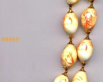 Necklace  Vintage  Orange/Ivory Swirl Ceramic Bead     Item No: 869