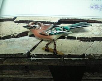 TAKAHASHI Wood Bird Brooch Female Bluebird    Item No: 16172