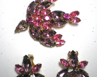 Pink and Lilac Bird Brooch and Clip Earrings   Item No: 15405
