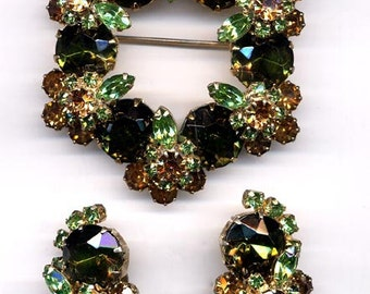 Green and Gold Brooch and Earrings   Item No: 14305
