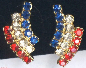 Red, White and Blue Clip Earrings     Item No: 2513