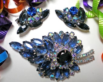 DeLizza and Elster aka Juliana Blue and Aurora Borealis Demi Parure   Item 15835