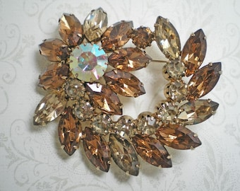 Topaz Navette and Chaton Flower Brooch    Item No: 15139