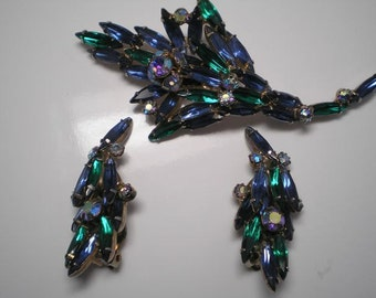 D&E aka Juliana Blue and Green Demi Parure   Item No: 16274
