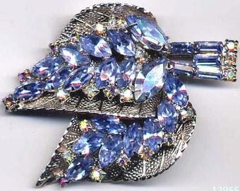 2 Leaf Brooch  Light Blue Navettes  UNSIGNED  Item No: 12955
