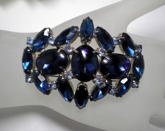 Vintage Blue Dome Brooch Ovals and Navettes   Item No: 12340