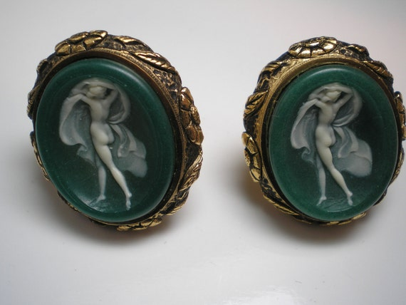 DANTE  RARE Cuff Links  Museum Masterpiece Nude with Veils   Incolay    Item No: 16040