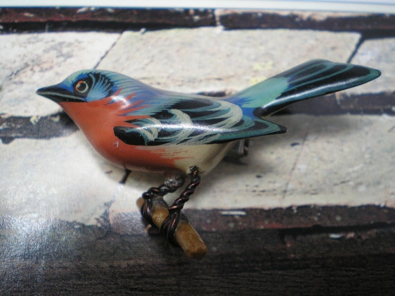TAKAHASHI BLUEBIRD  Brooch Hand Carved and Painted Wood   Item No: 16196