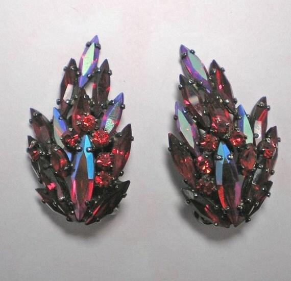 SHERMAN Dark Siam AB Navette Earrings   Item No: 15573