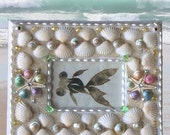 """Cute, Small and Adorable Seashell Picture/Photo Frame in a Pale Palette--2""""x3"""""""