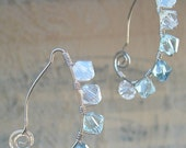 Sterling Silver Wire Wrapped Ice Blue Crystal Earrings