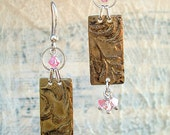 Sterling Silver and Etched Brass dangle earrings with pink crystals