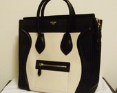 Classic Vintage Celine Black and White Leather Luggage Handbag Bag Tote