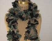 Flounce Yarn Knit Scarf in Varigated Black to Aqua Blue to Gray