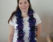 Katia Triana Knit Scarf in Varigated Dark Purple, Purple, and Maroon