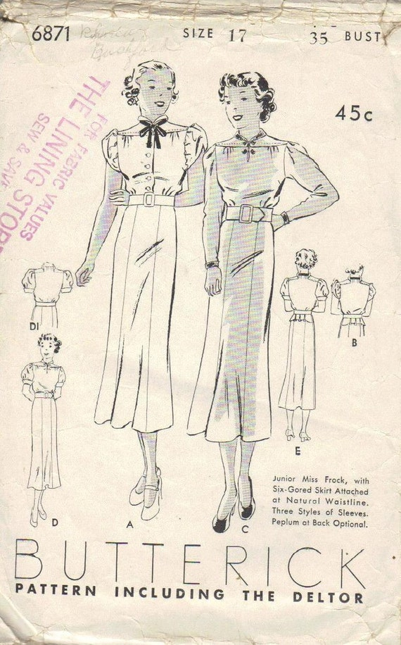 Hollywood Glamour Vintage Dress Butterick Sewing Pattern 1930s Movie Star Style Woman's Bust 35