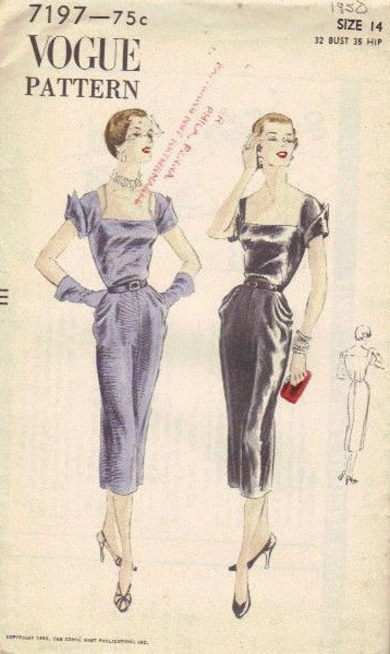 Hollywood Glamour 1950s Dress Vogue Sewing Pattern Bust 32 Hip