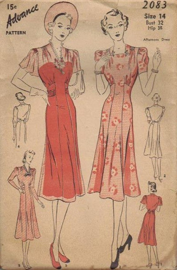 1930s Advance Sewing Pattern Spring Dress Cape Sleeves Flared Skirt Tie Back Bust 32 Movie Star Style