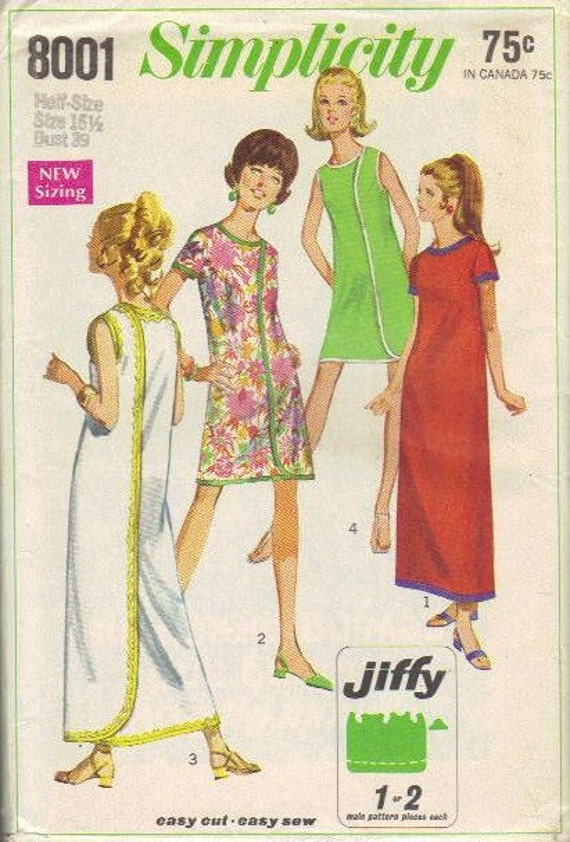 60s Simplicity Sewing Pattern Wrap Around Dress Three Armhole Easy to Sew Beach Cover Up Size Large