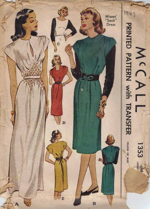 McCall 1940s Sewing Pattern Evening Gown Day Dress Sack Dress Kimono Sleeves Cinched Waistline Belted