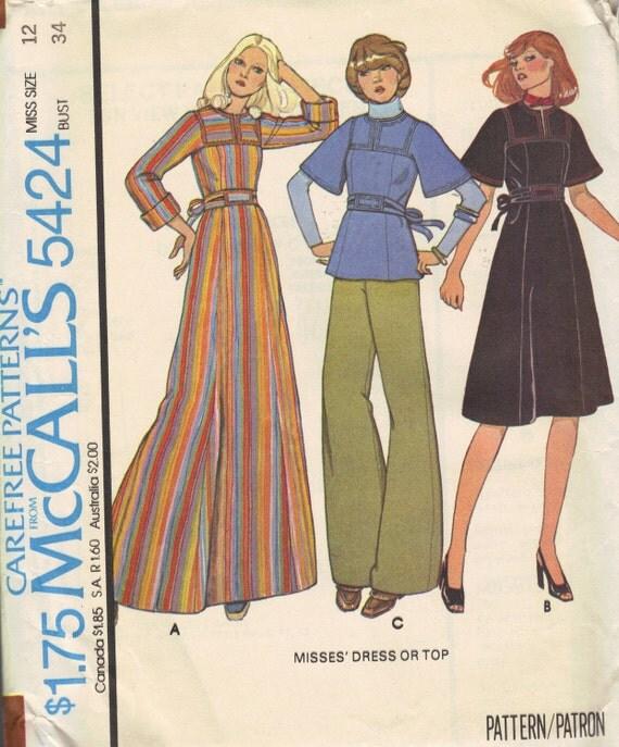 McCall's Boho Hippie Fashion Sewing Pattern 1970s Tunic Maxi Mini Midi Dress Kimono Sleeves Loose Fit Bust 34