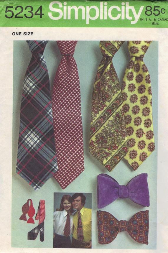 Simplicity Sewing Pattern 1970s Men's Women's Necktie Ties Bowtie One Size Bow Tie Misses Uncut