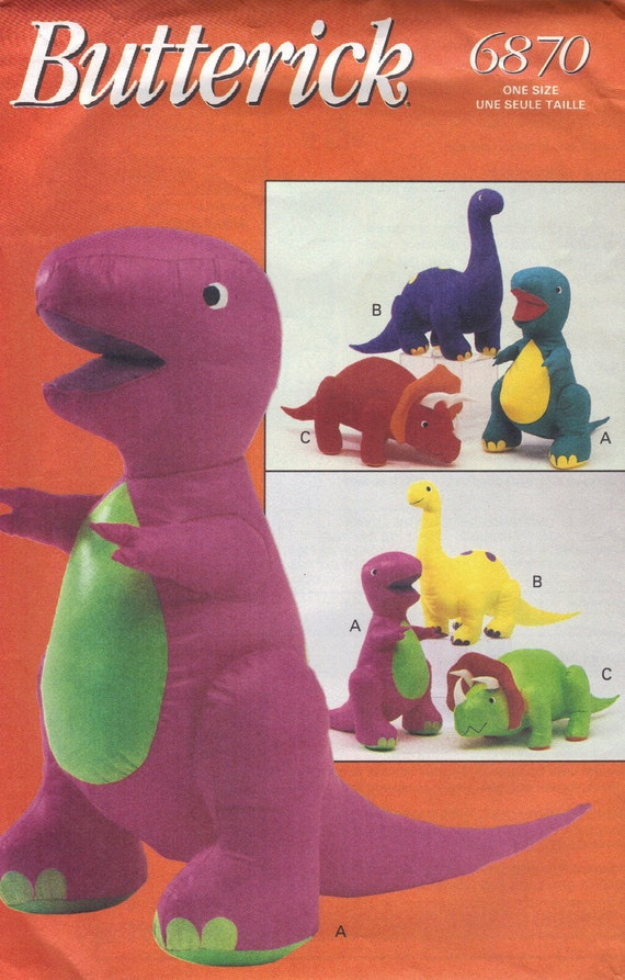 Butterick Sewing Pattern Craft Barney Dinosaur Stuffed Animal