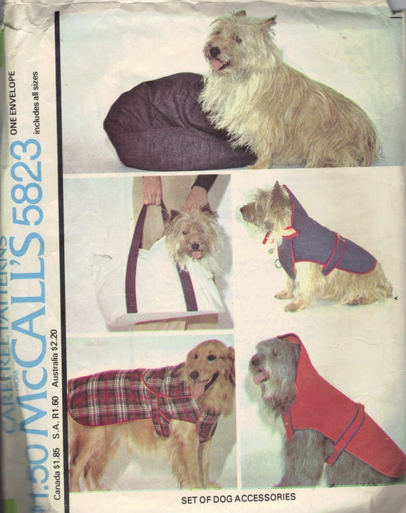 McCall's Sewing Pattern 70s Dog Accessories Doggie Coat Bed Travel Carrier Bag Puppy Fashion Small to Large Dogs