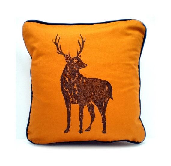 Sofa CUSHION - Wild Scottish Stag Deer Print - Orange Saffron - Housewarming Gift