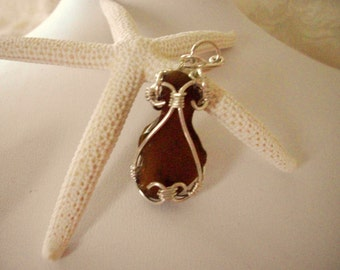 wire wrapped amber cape cod sea glass pendant, sterling silver jewelry by girlthree