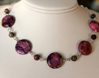 Bold Purple Beaded Necklace, Aqua Terra Jasper Beads, Handmade Jewelry by Girlthree