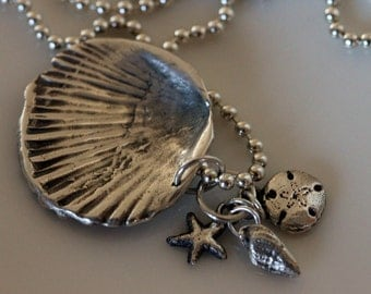silver seashell necklace | silver clam shell periwinkle starfish pendant | fine silver jewelry | handmade jewelry by girlthree